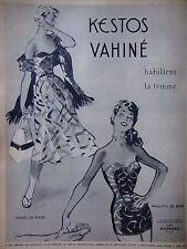 PUBLICITÉ PRESSE 1953 KESTOS VAHINÉ MAILLOTS DE BAIN TENUES PLAGE - ADVERTISING