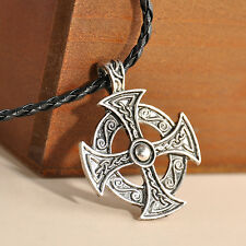 """Silver Celtic Solar Cross Pewter Pendant with 20"""" Choker Necklace"""