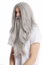 Peluca Barba lang plano gris Mago Knecht Ruprecht Profeta Viejo Moto Moses