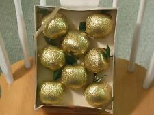 Vintage New Old Stock Satin Glitter Decorator Apple Christmas Ornaments Rauch
