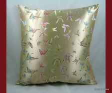 """New Silk Cushion Cover Pillow Case Ivory Butterfly 16.50"""""""