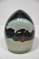 ONE VINTAGE MDINA ART GLASS TIGER PAPERWEIGHT IN THE TIGERS EYE PATTERN