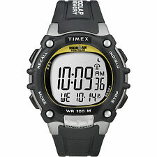 Timex Mens Ironman 100-Lap Full Sz Gray Black Digital Sport Running Watch T5E231