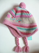 Monsoon girls pink beige striped winter hat 1 2 years yrs NEW 12 18 24 months