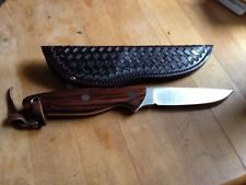Clint Sampson Fixed Blade Ironwood, ATS34 Knife  w/ Leather Sheath By Maker