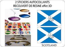 2 X STICKERS RECOUVERT DE RESINE DRAPEAU EFFET 3D 70 mm X 50 mm ECOSSE