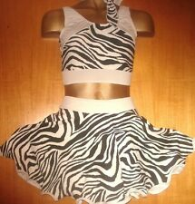BLACK/WHITE/ZEBRA LYCRA ROCK AND ROLL 11/12 YEAR OLD COSTUME