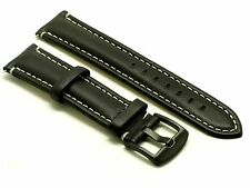 24mm Black Leather Contrast Stitch Watch Replacement Strap Black Buckle Nixon 24