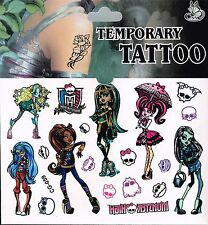 MONSTER HIGH childrens Temporary Body Tattoo Stickers Party Favors Gift