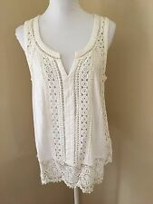 Anthropologie MEADOW RUE Large L Off White Sleeveless Tunic Top w/ Lace Hem