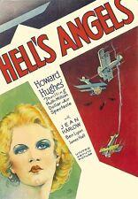 Película Hells Angels Howard Hughes clásico cartel impresión