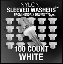 100 Nylon SLEEVED WASHERS in WHITE to replace Pearl washers drum tension rod