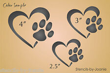 Pet STENCIL Heart Paw Print Dog Track Love Animals Kennel Sign Work Home Decor