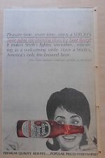 1963 newspaper ad for Stroh's Beer - Pleasure Time Every Time. Fire Brewed