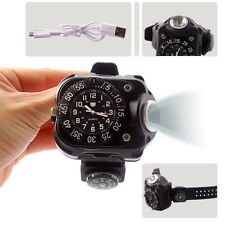 Rechargeable XML T6 LED USB Wrist Watch Flashlight Torch Light Outdoor Running