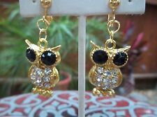 Gorgeous Goldtone, Black Bead & Clear Rhinestone Owl Dangling Clip On Earrings
