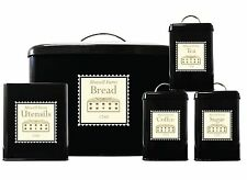 Mowell Farm 5 PC Black Bread Bin Set Utensil Tea Coffee Sugar Jar Canister Set