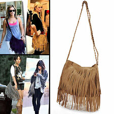 Vintage Women's Faux Suede Fringe Tassels Crossbody Bag Shoulder Bag Cross Body