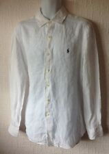 Da Uomo Polo Ralph Lauren Classic Lino Bianco Piccolo Pony Camicia a maniche lunghe M/L