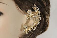 Women Gold Metal Long Hook Fashion Jewelry One Side Earring Silver Leaf Flowers
