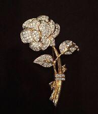 Vintage Signed Nolan Miller Gold & Crystal Rose Brooch Pin NWOT