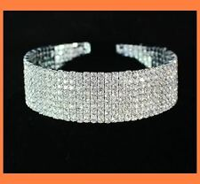 8-ROW CLEAR AUSTRIAN CRYSTAL RHINESTONE CHOKER NECKLACE PARTY WEDDING N077S