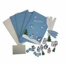 Set Bastelset Karten incl 4x Karte Umschläge Sticker Glitter Weihnachten Kinder