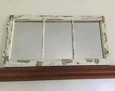 Distressed Repurposed 3-Pane Window Mirror-Architectural Cottage Decor.     #519