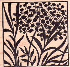 New MAGENTA RUBBER STAMP Ornamental Onion square botanical TILE MOUNTED