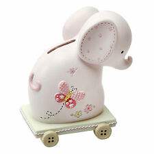 BABY GIRL RESIN PINK ELEPHANT MONEY BOX CHRISTENING  NEW BABY  GIFTS CG758p
