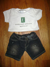 BUILD A BEAR WORKSHOP 2 PCS LOT OUTFIT DARK DENIM SHORTS WHITE SHIRT EMBASSY