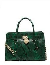 NEW Michael Kors Hamilton luxe Embossed Python EW Satchel Green/gold handbag