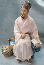 Elegant Seated Chinese Sage Sitting On A Rock Bench While Contemplating His Book