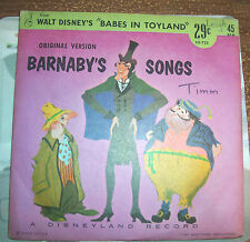 Disneyland Records Walt Disney's Babes in Toyland Barnaby's Songs 1961 vtg Vinyl