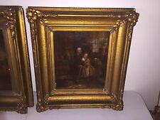 Antique Dutch Old Master Oil Painting Gold Frame - Little Girl Child & Old Woman