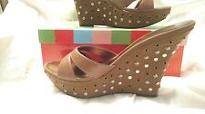 "Charles David ""Studious"" studded brass grommet wedge sandals tan cognac NIB 10"