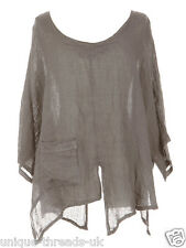 CUT SLASH LAGENLOOK QUIRKY LINEN POCKET TOP LAYERING BOHO ONE SIZE 12-22 - MOCHA