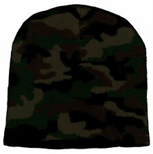 Camo Knit Beanie Camouflage Cap Winter Ski Snow Board Toque Tuque Unisex Women
