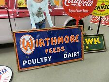 Vintage Wirthmore Feed Seed Store Poultry Dairy Porcelain Farm Advertising Sign