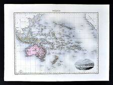 1880 Migeon Map - Oceania - Australia New Zealand Hawaii Tahiti Fiji Noumea View