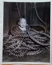1960's 8 X 10 Photo of young boy in rope aboard the Queen Elizabeth