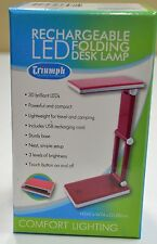 RED Triumph Rechargeable Folding Desk Lamp, Table, Craft, Sewing, Hobby LED USB