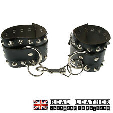 Black Conical Ring Studded Real Leather Gothic Punk Handcuff Made In England