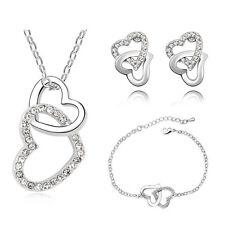 Bridal Jewellery Jewelry Set White Crystal Heart Earrings Bracelet Necklace S466