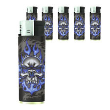 Butane Refillable Electronic Gas Lighter Set of 5 Skull Design-015