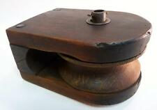 ANTIQUE PRIMITIVE INDUSTRIAL RUSTIC BARN WOOD BLOCK PULLEY CAST IRON STEAMPUNK