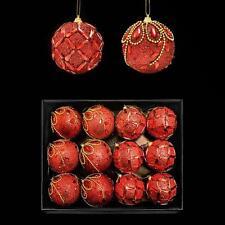Scatola di 12 Glitter & Gem Natale 80mm Baubles (DP) - Rosso