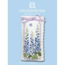 Delphiniums Flower Lavender Sachet Cross Stitch Kit By Textile Heritage