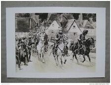 Affiche cartonnée : Hussards passant devant le Maréchal Bernadotte