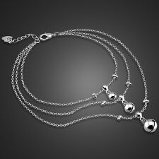 Charm Solid Sterling Silver Lady's 3 Layered Bell Pendant Chain Anklet B122